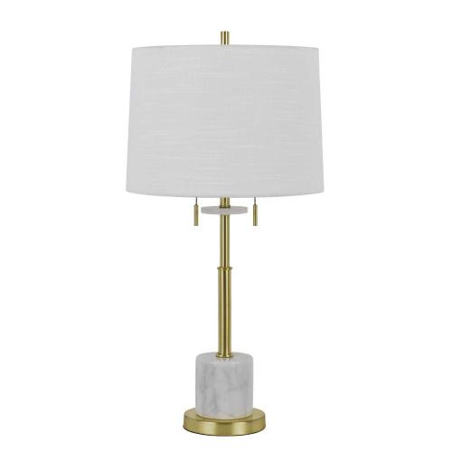 Lille 60W X 2 Metal Table Lamp With Marble Base And Pull Chain Switches