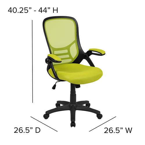 Flash Furniture - High Back Green Mesh Ergonomic Swivel Office Chair with Black Frame and Flip-up Arms
