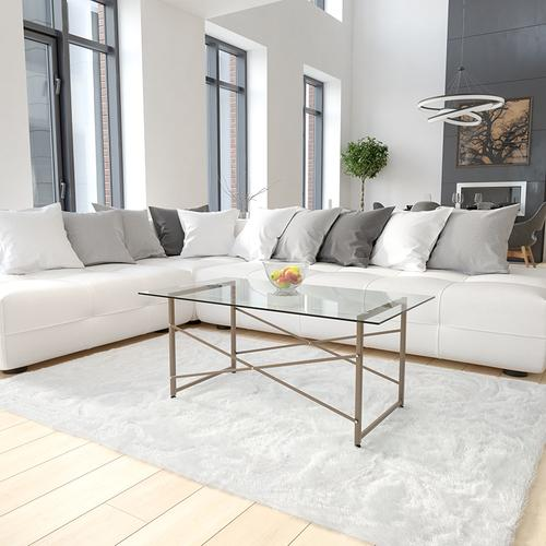 Flash Furniture - Mar Vista Collection Glass Coffee Table with Matte Gold Frame