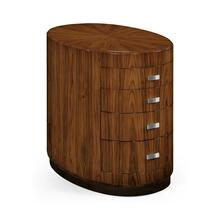 Art Deco oval chest of drawers with stainless steel handles (High lustre)