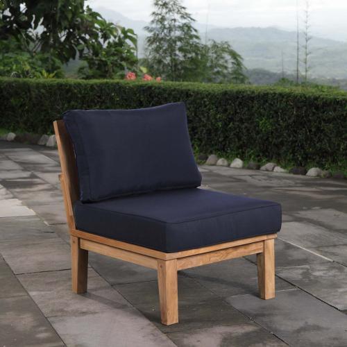 Marina Armless Outdoor Patio Teak Sofa in Natural Navy