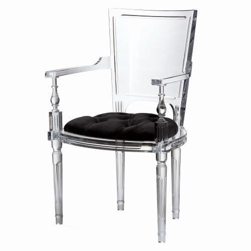 Marilyn Acrylic Arm Chair-Black