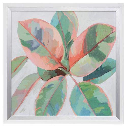 Style Craft - PASTEL PLANT II  31in w X 31in ht  Made in USA  Textured Framed Print