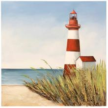See Details - Lighthouse Signal Bay  39in X 39in Coastal Hand Painted Textured and 3-D Material Applied Stretched