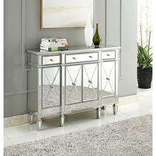 3 Drawer 4 Door Cabinet 48 .In. X 14 In. X 36 In. In Silver Clear