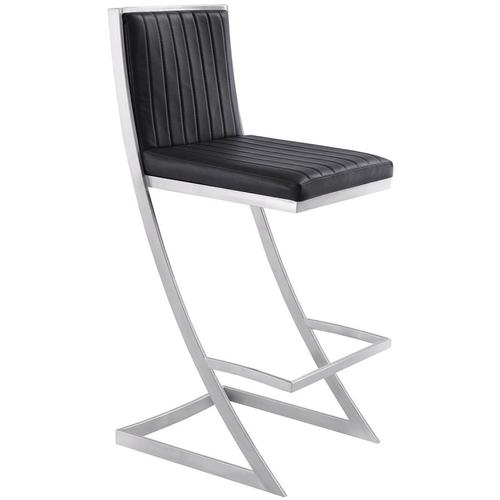"Marc 30"" Bar Height Barstool with Brushed Stainless Steel Finish and Vintage Black Faux Leather"