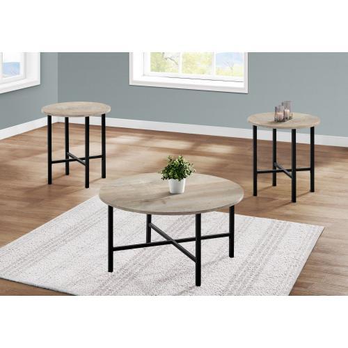 Gallery - TABLE SET - 3PCS SET / TAUPE RECLAIMED WOOD / BLACK METAL