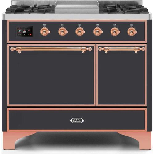 Product Image - Majestic II 40 Inch Dual Fuel Natural Gas Freestanding Range in Matte Graphite with Copper Trim