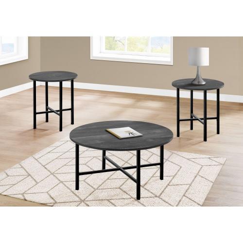 Gallery - TABLE SET - 3PCS SET / BLACK RECLAIMED WOOD / BLACK METAL
