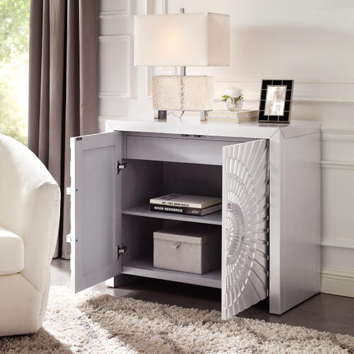 Stellar Two Door Accent Cabinet in Matte Silver