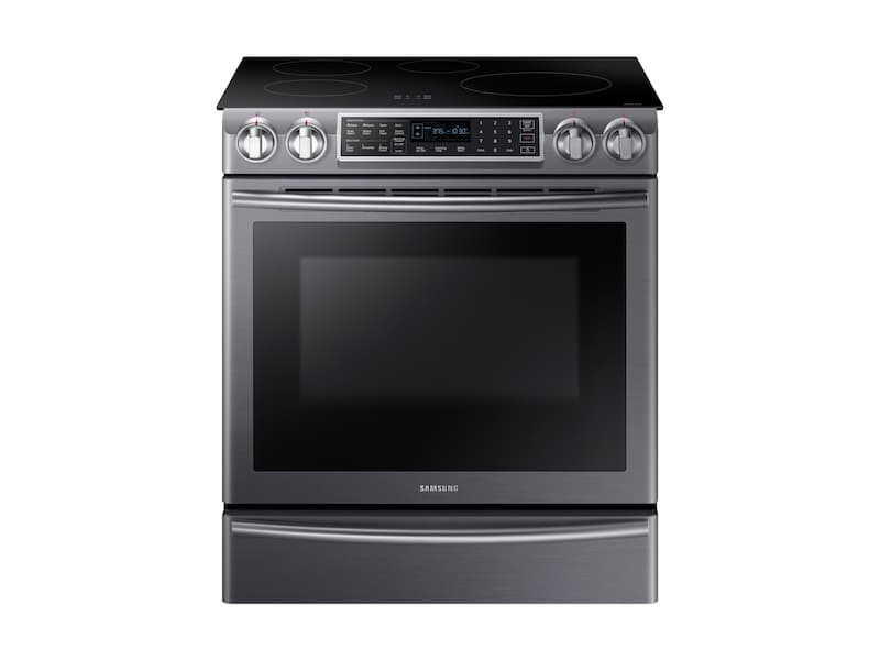Samsung5.8 Cu Ft. Smart Slide-In Induction Range With Virtual Flame™ In Black Stainless Steel