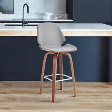 "View Product - Arabela 26"" Grey Faux Leather and Walnut Wood Swivel Bar Stool"