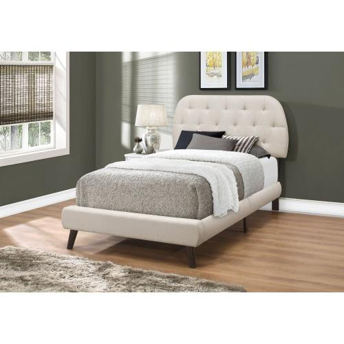 Gallery - BED - TWIN SIZE / BEIGE LINEN WITH BROWN WOOD LEGS
