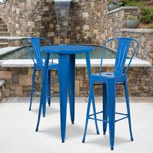 "Commercial Grade 24"" Round Blue Metal Indoor-Outdoor Bar Table Set with 2 Cafe Stools"