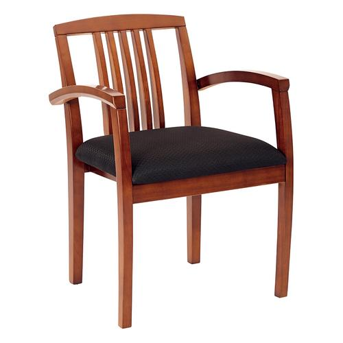 Kenwood Light Cherry Chair With Wood Slat Back, Black Fabric (2-pack)
