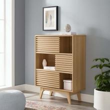 See Details - Render Three-Tier Display Storage Cabinet Stand in Oak