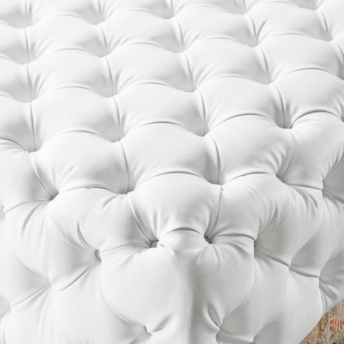 Amour Tufted Button Large Square Faux Leather Ottoman in White