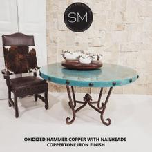"""Turquoise Patina Dining Table Oxidized Hammer Copper Top w/ Nailheads - 54""""Rd / Natural Copper / Dark Rust Brown"""
