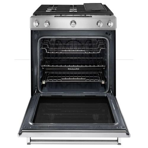 KitchenAid - 30-Inch 5 Burner Gas Convection Slide-In Range with Baking Drawer - Black