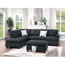 Nika 3pc Sectional Sofa Set, Black