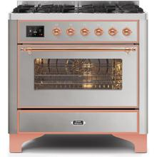 Majestic II 36 Inch Dual Fuel Liquid Propane Freestanding Range in Stainless Steel with Copper Trim