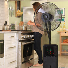 See Details - CoolZone Dry Mist Bluetooth Speaker Fan - Black