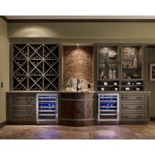 24 Inch Dual Zone Overlay Glass Door Left Hinge Undercounter Wine Cabinet