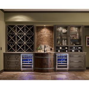 True Residential24 Inch Dual Zone Overlay Glass Door Right Hinge Undercounter Wine Cabinet