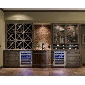 24 Inch Single Zone Overlay Glass Door Left Hinge Undercounter Wine Cabinet