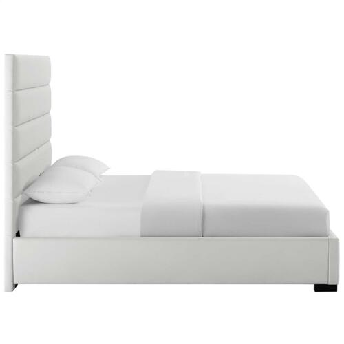 Genevieve Queen Faux Leather Platform Bed in White