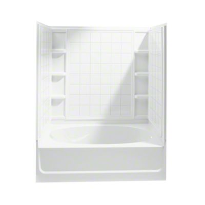 """Ensemble™, Series 7110, 60"""" x 36"""" x 72"""" Tile Bath/Shower with Age in Place Backers - Right-hand Drain - White"""