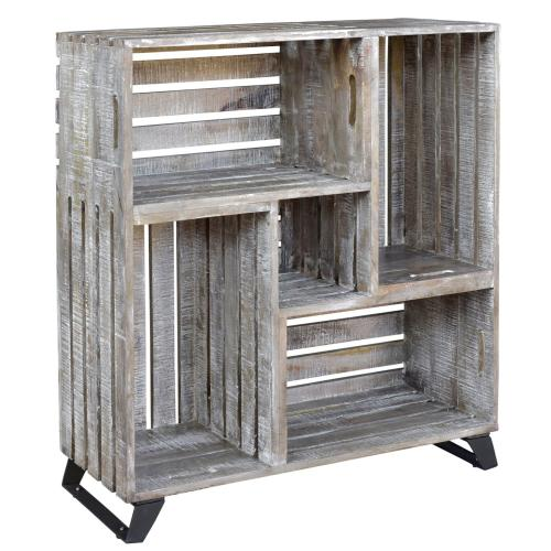 See Details - Bengal Manor Mango Wood Reclaimed Crates Bookcase