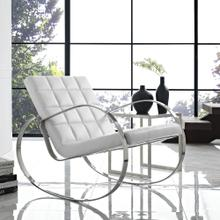 Gravitas Upholstered Vinyl Lounge Chair in White