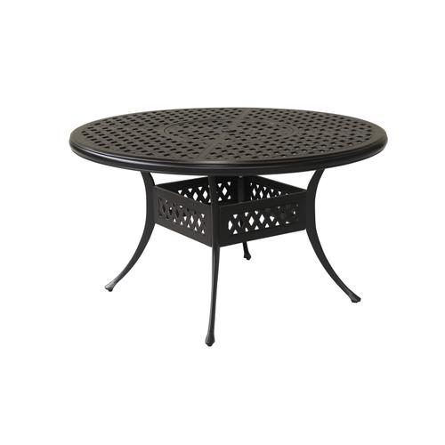 "Bonita Weave 52"" Round Die Cast Dining Table w/ Umbrella Hole"