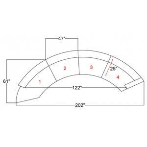 "Anabella Modular Velvet Sectional - 147"" W x 79.5"" D x 31.5"" H"