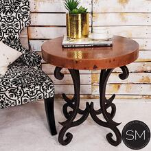 Entry Table Hammer Copper Top w/ Wrought Iron Base - Natural Hammer Copper / Dark Rust Brown