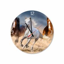 Trio of Galloping Horses Round Acrylic Wall Clock