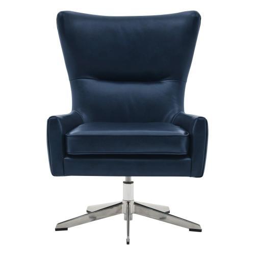 Arya KD Top Grain Leather Swivel Accent Chair, Garrett Blue