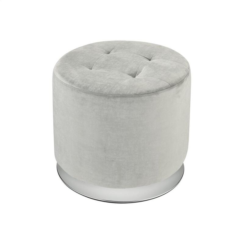 Lilliebeth Light Grey Velvet With Chrome Base Ottoman