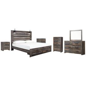 King Panel Bed With Storage With Mirrored Dresser, Chest and 2 Nightstands