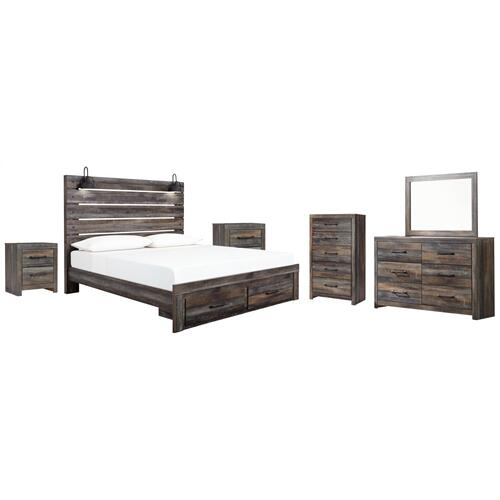 Ashley - King Panel Bed With Storage With Mirrored Dresser, Chest and 2 Nightstands