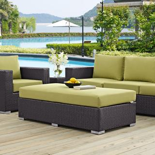 Convene Outdoor Patio Fabric Rectangle Ottoman in Espresso Peridot