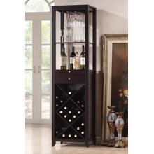 Arles Espresso Wood Wine Tower Cabinet