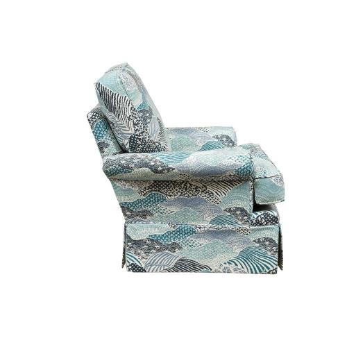 Swivel Chair, Fully Upholstered, Skirted.