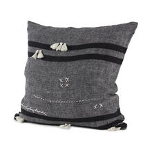 Sibyl 18L x 18W Dark Gray and Black Fabric Striped and Fringed Decorative Pillow Cover