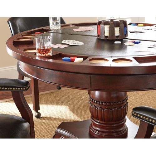 Gallery - Tournament 6 Piece Dining/Game Table Set - Black Chairs (Dining Table, Black Game Top, & 4 Captain's Chairs)