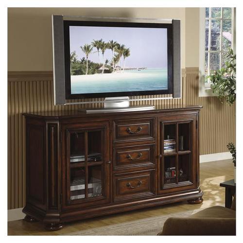 Cantata 60-Inch High Waist TV Console Burnished Cherry finish