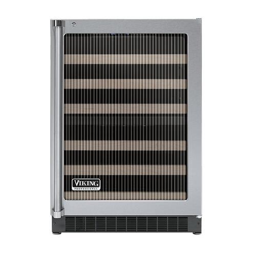 """Viking - Stainless Steel 24"""" Glass Door Dual Zone Wine Cellars - VUWC (Right Hinge Fluted Glass)"""