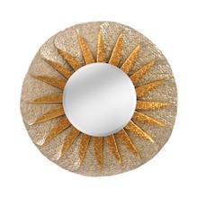 See Details - Handmade Rolled Wave Metal Frame, Beveled Mirror