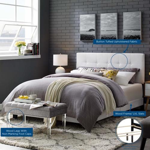 Modway - Amira Queen Upholstered Fabric Bed in White